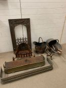 A selection of fire equipment grates, back and scuttles