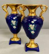 A pair of porcelain urn vases