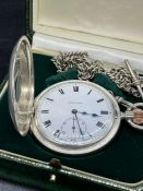 A Silver Longines Half Hunter Pocket watch, circa 1926 with enamel dial and silver double Albert
