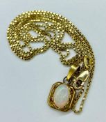 A 14ct gold chain with opal pendant (Total weight 4.8g)