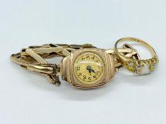 Opal & Diamond ring 18ct Gold TW 3.97 grams & Ladies Wristwatch 9ct Gold case & bracelet. Both AF