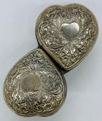 A Victorian silver heart shaped jewellery box