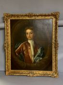 A 18th century English school following Peter Lely style, 'Boy in velvet jacket', oil on canvas,