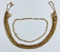 A Selection of five 9ct gold chains (Total Weight 6.1g)