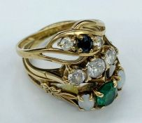 A selection of three 9ct gold rings with semi precious stones (Total Weight 5.6g)