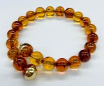 An Amber bracelet with gold setting and a safety chain
