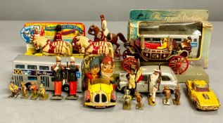 A selection of toy soldiers, boxed Matchbox bus, three unboxed vehicles and a Corgi comics Noddy's