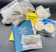 A selection of coins, pennies including Victorian, Crowns and Ireland's Decimal Coins pack,