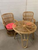 A Mid Century bamboo conservatory chairs and table