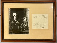 A Framed letter signed by Charlie Chaplin and a photograph
