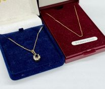 Two 9ct gold fine necklaces