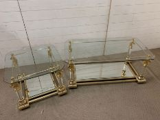A pair of Maison Charles style coffee tables (Small H45cm Sq60cm) (Large H45cm W100cm D60cm)