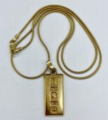 A 9ct gold ingot on 9ct gold chain. (Total Weight 13g)