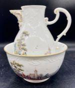 A Meissen wash bowl with jug