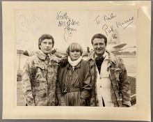The New Avengers, an autographed photo by Joanna Lumley, Gareth Hunt and Patrick Macnee