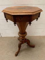 A walnut trumpet work table (H75cm W46cm)
