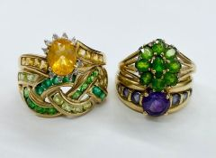 A Selection of four 9ct gold fashion rings (QVC) Total Weight 14.2g