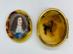A Mid 17th Century miniature depicting a gentleman in armour with white ruff and blue sash in