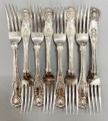 A set of eight silver dessert forks (Total Weight 500g) please see photos for hallmarks