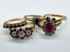 A Selection of Five 9ct gold rings in various styles and designs (Total Weight 10g)