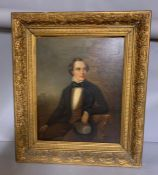 A 19th century English school, 'Gentleman in a bowtie', oil on canvas, within a gilded frame, (