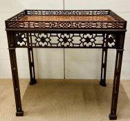 A mahogany square fretwork table (H78cm W77cm D48cm)