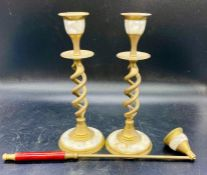 A pair of brass candlesticks and matching snuffer with mother of pearl inlay (H20cm)