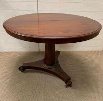 A Regency style breakfast table the tilt top on faceted shaft on a tri-form platform base (H72cm