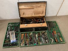 Wooden toolbox with contents and three trays of tools
