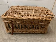 A Vintage Wicker Laundry Basket marked A 58 and Laundry