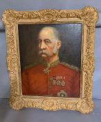 A 19th century English school, 'Decorated officer', oil on painting, within a gilded frame (58cm x