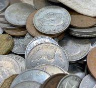A cloth bag of mixed British coins