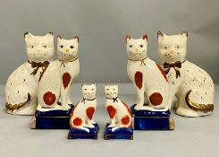 A selection of china porcelain cats Staffordshire style (H20cm)