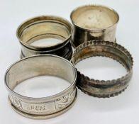Four various hallmarked silver napkin rings (58g)