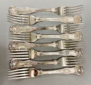 A set of eight silver forks (Total weight 798g) please see photos for hallmarks