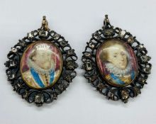 A Pair of Late 16th Century miniatures in pendant form with gold backs depicting a gentleman and a