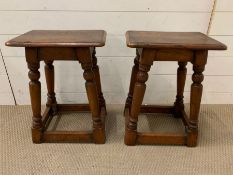 A pair of 19th century fruitwood stools (H53cm W40cm D29cm)