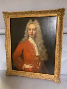 A 18th century English school, 'Gentleman with wing and red jacket' oil on canvas, within a gilded