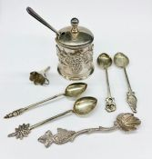 A small selection of silver curios including a mustard