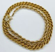 A 9ct yellow gold rope necklace and bracelet (9.4g Total Weight)