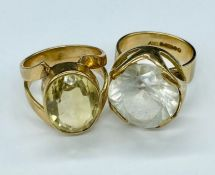 Two substantial cocktail rings in 9ct gold (Total Weight 14.7g)