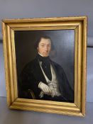 A 19th century English school, 'Gentleman in a cravat', oil on canvas, withi a gilded frame, (66cm x