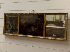 A Georgian mirror with central oil painting (AF) of foxes and two side mirrors in gilt frame.