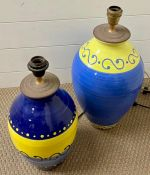 A selection of two colourful pottery lamp bases