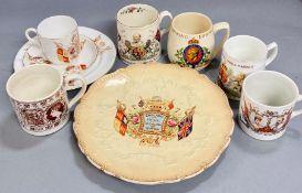 A selection of coronation ware, Queen Victoria, Edward VII, etc