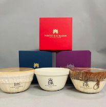 Royal Memorabilia: Two Fortnum and Mason Royal Household Christmas puddings boxed and one boxed bowl