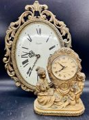A ornate brass wall clock and mantle clock