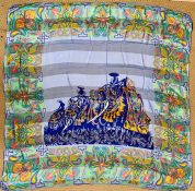 A Vintage Jean-Louis Scherrer scarf in an Elephant and Mahout design