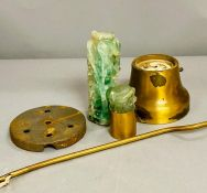 An antique brass lamp with green crystal or jadeite. This is a project and need to be reassembled