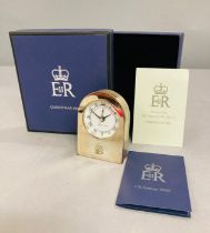 A silver plated clock a Christmas present from Queen Elizabeth II given as a gift to a member of the